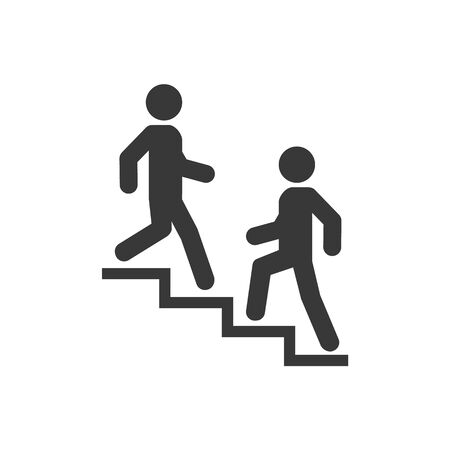 Upstairs-downstairs icon sign. Walk man in the stairs. Career symbol. flat design. Vector illustration.  イラスト・ベクター素材