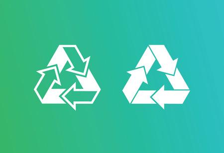 Eco recycle icons set. Vector. Arrow triangle. Green triangular Illusztráció