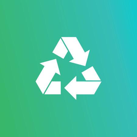 Eco recycle icon. Vector. Arrow triangle. Green triangular