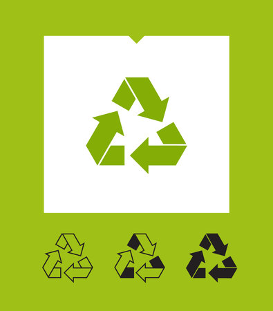 Eco recycle icons set. Vector. Arrow triangle. Green triangular Ilustração
