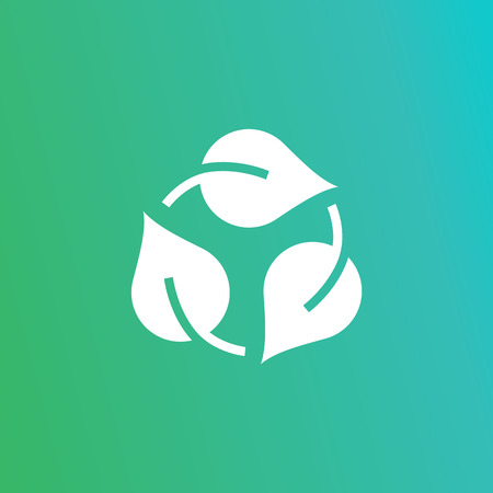 Eco recycle icon, carrybag basket. Vector. Arrow ecofreindly leafs triangle. Green triangular