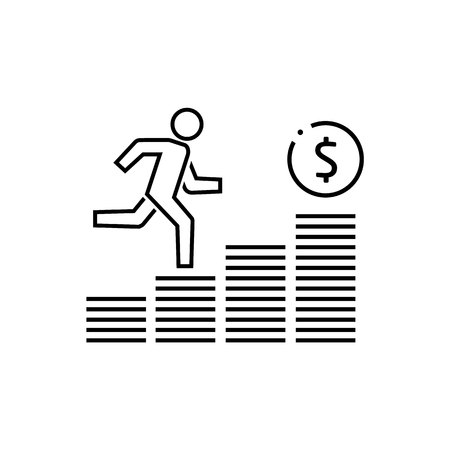 Growing business man graph icon.Vector illustration. Flat style design Ilustração