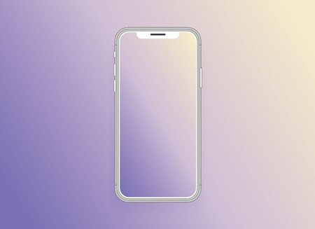 Smartphone with blank screen mock up. Smartphone isolated screen. Mobile phone vector illustration. Empty space for text. Isolated screen.