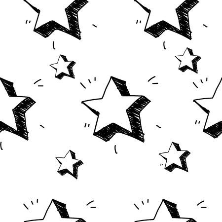 Stars seamless pattern. Vector illustration. Hand drawn sketched doodle stars symbols.