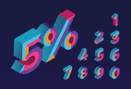 5% sale. 0, 1, 2, 3, 4, 5, 6, 7, 8, 9 isometric 3D numeral alphabet. Percent off, sale background. Colorfull polygonal triangle Letter.. Vector Isolated Number. Çizim