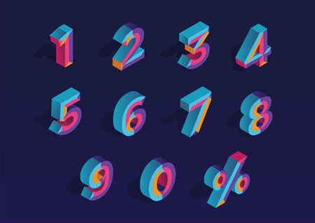 0, 1, 2, 3, 4, 5, 6, 7, 8, 9 isometric 3D numeral alphabet. Percent off, sale background. Colorfull polygonal triangle Letter. Eps10. Vector Isolated Number.