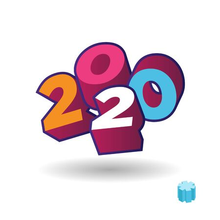 2020 year 3d text plate vector. Background for banner, sale, ad, card. Colorfull trendy illustration Stockfoto - 132220905