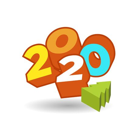 2020 year 3d text plate vector. Background for banner, sale, ad, card. Colorfull trendy illustration Foto de archivo - 132220907