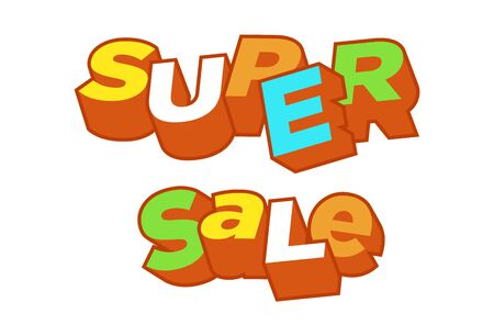 3D text super sale background, percent off. Colorfull polygonal trendy style object. Big Sale banner. Eps10, Vector Illustration. 向量圖像