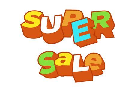 Fondo de super venta de texto 3D, porcentaje de descuento. Objeto de estilo de moda poligonal colorido. Banner de gran venta. Eps10, ilustración vectorial.