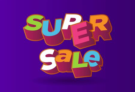 3D text super sale background, percent off. Colorfull polygonal trendy style object. Big Sale banner. Eps10, Vector Illustration. Stock Illustratie