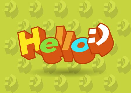 Hello 3d text plate vector. Background for banner, sale, ad, card. Colorfull illustration Stock Illustratie