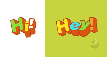 Hi, Hey, Hello 3d text plate vector. Background for banner, sale, ad, card. Colorfull trendy illustration Stock Illustratie