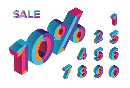 10% sale. 0, 1, 2, 3, 4, 5, 6, 7, 8, 9 isometric 3D numeral alphabet. Percent off, sale background. Colorfull polygonal triangle Letter. Vector Isolated Number. Foto de archivo - 132475325