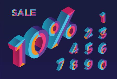 10% sale. 0, 1, 2, 3, 4, 5, 6, 7, 8, 9 isometric 3D numeral alphabet. Percent off, sale background. Colorfull polygonal triangle Letter. Vector Isolated Number. Stock Illustratie