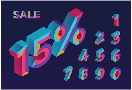 15% sale. 0, 1, 2, 3, 4, 5, 6, 7, 8, 9 isometric 3D numeral alphabet. Percent off, sale background. Colorfull polygonal triangle Letter. Vector Isolated Number. Foto de archivo - 132475342