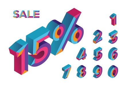 15% sale. 0, 1, 2, 3, 4, 5, 6, 7, 8, 9 isometric 3D numeral alphabet. Percent off, sale background. Colorfull polygonal triangle Letter. Vector Isolated Number. Foto de archivo - 132475344