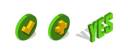 Check, add mark 3d isometric icon. Yes vector letters.