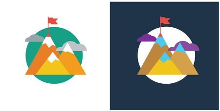 Trendy designed concepts iillustration for mission company or explore and startup business.  Flat color line conquest of the mountains, the flag on top. Used for web project and applications. Vector Foto de archivo - 132475353