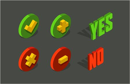 Check, add and delete / remove mark 3d isometric icon. Yes and No vector letters. Stock Illustratie