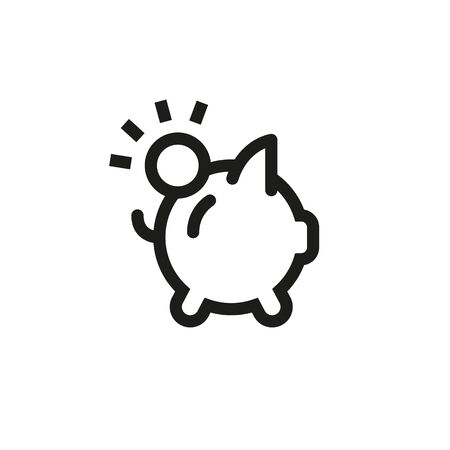 Icon piggybank savings with money. Line outline illustration on white background.