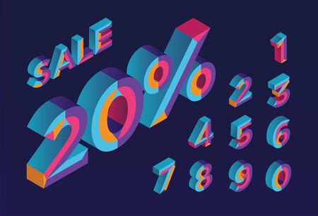 20% sale. 0, 1, 2, 3, 4, 5, 6, 7, 8, 9 isometric 3D numeral alphabet. Percent off, sale background. Colorfull polygonal triangle Letter. Stock Illustratie