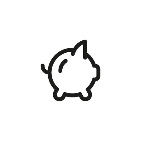 Icon piggybank savings with money. Line outline illustration on white background. Foto de archivo - 132244154