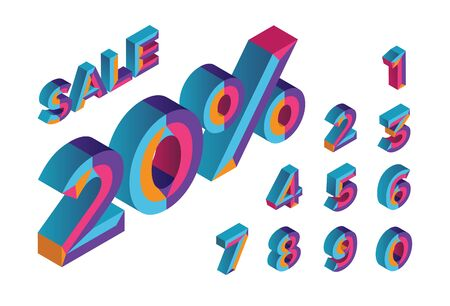 20% sale. 0, 1, 2, 3, 4, 5, 6, 7, 8, 9 isometric 3D numeral alphabet. Percent off, sale background. Colorfull polygonal triangle Letter. Vector Isolated Number. Stock Illustratie