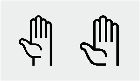 hand stop sign icon. vector set stop symbols.