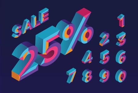 25% sale. 0, 1, 2, 3, 4, 5, 6, 7, 8, 9 isometric 3D numeral alphabet. Percent off, sale background. Colorfull polygonal triangle Letter. EPS10. Vector Isolated Number.