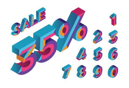 35% sale. 0, 1, 2, 3, 4, 5, 6, 7, 8, 9 isometric 3D numeral alphabet. Percent off, sale background. Colorfull polygonal triangle Letter. EPS10. Vector Isolated Number. Stock Illustratie