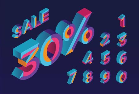 30% sale. 0, 1, 2, 3, 4, 5, 6, 7, 8, 9 isometric 3D numeral alphabet. Percent off, sale background. Colorfull polygonal triangle Letter. EPS10. Vector Isolated Number. Stock Illustratie