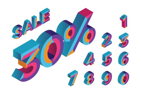 30% sale. 0, 1, 2, 3, 4, 5, 6, 7, 8, 9 isometric 3D numeral alphabet. Percent off, sale background. Colorfull polygonal triangle Letter. Stock Illustratie