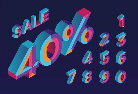 40% sale. 0, 1, 2, 3, 4, 5, 6, 7, 8, 9 isometric 3D numeral alphabet. Percent off, sale background. Colorfull polygonal triangle Letter. Foto de archivo - 133830559