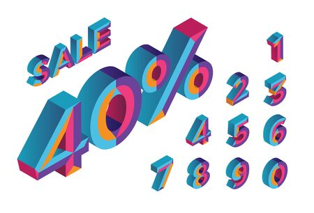 40% sale. 0, 1, 2, 3, 4, 5, 6, 7, 8, 9 isometric 3D numeral alphabet. Percent off, sale background. Colorfull polygonal triangle Letter. Stock Illustratie