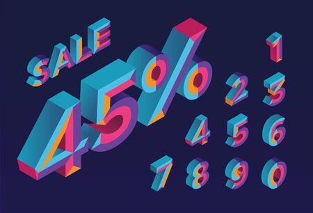 45% sale. 0, 1, 2, 3, 4, 5, 6, 7, 8, 9 isometric 3D numeral alphabet. Percent off, sale background. Colorfull polygonal triangle Letter. Stock Illustratie
