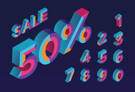 50% sale. 0, 1, 2, 3, 4, 5, 6, 7, 8, 9 isometric 3D numeral alphabet. Percent off, sale background. Colorfull polygonal triangle Letter.