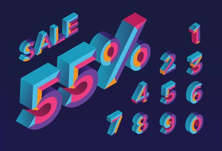 55% sale. 0, 1, 2, 3, 4, 5, 6, 7, 8, 9 isometric 3D numeral alphabet. Percent off, sale background. Colorfull polygonal triangle Letter.