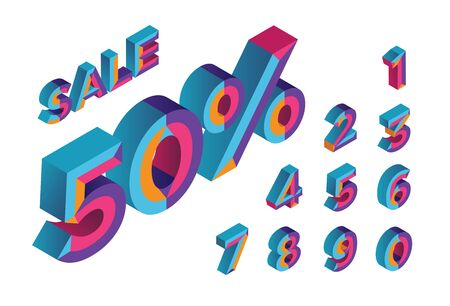 50% sale. 0, 1, 2, 3, 4, 5, 6, 7, 8, 9 isometric 3D numeral alphabet. Percent off, sale background. Colorfull polygonal triangle Letter. Foto de archivo - 133830600