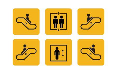 Ascensor y escalera mecánica de servicios públicos establecen iconos con seres humanos. Símbolos de subida o bajada de ascensor. Ilustración vectorial.