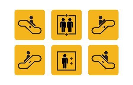 Aufzug und Rolltreppe für öffentliche Dienste stellen Ikonen mit Menschen ein. Heben oder Aufzug nach oben und unten Symbole. Vektor-Illustration.