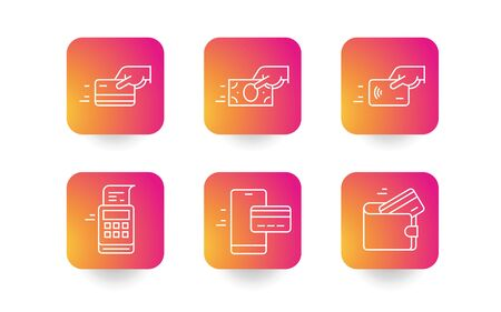 Set of payment options vector elements in flat style. Credit card processing, hand holding debit-credit card, cash, wallet, mobile banking and receipt.