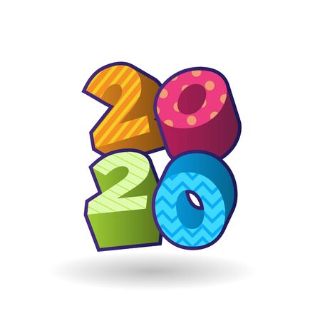2020 New Year, 3D Color Illustration. Happy new year red, green, blue, yellow 3D Numbers. Three Dimension Rendering. Vector creative Design Concept