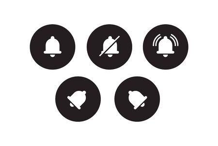 Notification vector icons of bell. Alarm alert message bells, reminder application and smartphone notifications bell. Icons isolated vector set