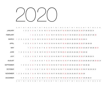 Calendar for 2020, isolated on background. Vector, EPS10. Stock Illustratie