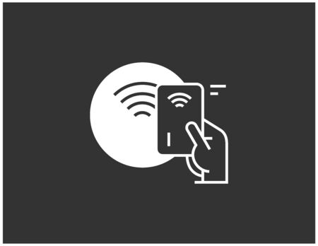 NFC contactless wireless pay sign logo. Credit card or mobile nfc payment. Vector icon concept.