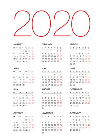 Calendar for 2020, isolated on background. Vector Stock Illustratie