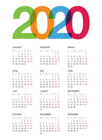 Calendar for 2020, isolated on background. Vector Foto de archivo - 133830708