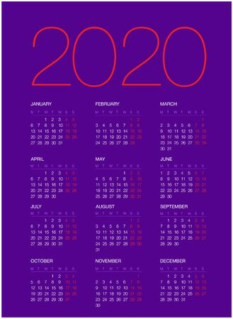 Calendar for 2020, isolated on background. Vector, EPS10. Foto de archivo - 132969566