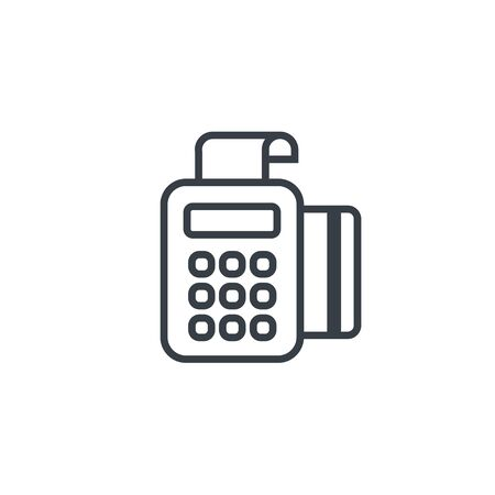 Banking and money terminal set icons. Line style. Vector.